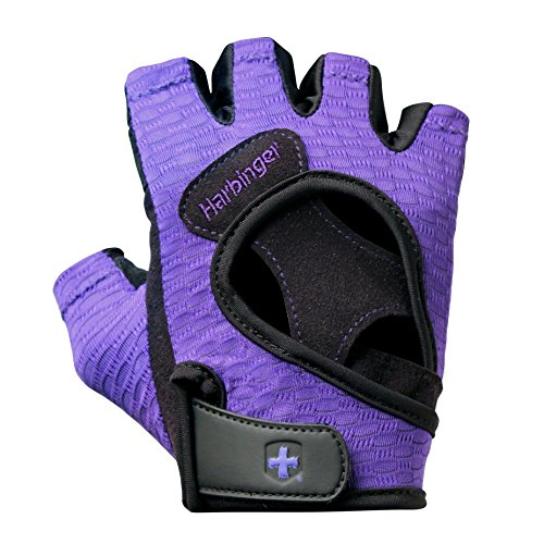 Harbinger Women's Flexfit Wash and Dry Weightlifting Gloves with Padded Leather Palm (Pair) (2017 Model), Purple, Small