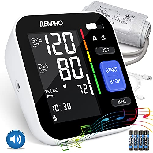 RENPHO Blood Pressure Monitor, Home Upper Arm Blood Pressure Machine Automatic Digital Large Screen BP Monitor with Music & Talking,Large Cuff,2-Users, 240 Recordings