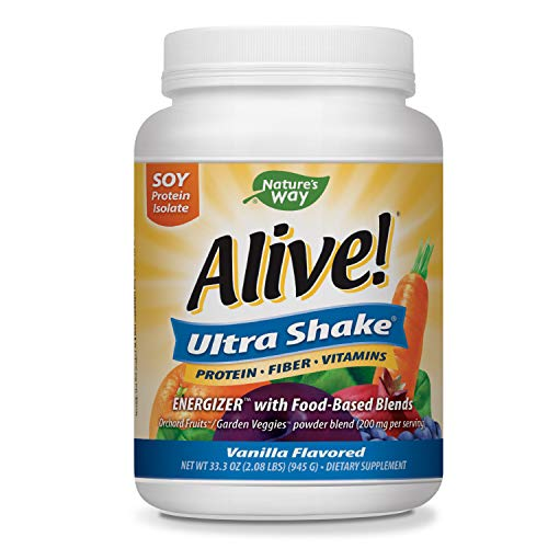 Nature's Way Alive! Ultra Shake Energizer, Soy Protein Isolate, Vanilla Flavored, 2.08 Lbs