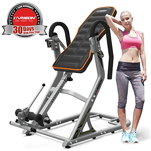HARISON Inversion Table for Back Pain Relief High Capacity with 180 Full Inversion, Heavy Duty Back Inversion Chair with 3D Memory Foam, Thanksgiving Day Gift (407)
