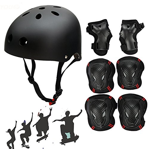 Besmall Adjustable Skateboard Skate Helmet with Protective Gear Knee Pads Elbow Pads Wrist Pads for Adult Outdoor Sports, BMX, Skateboard, Bike, Roller, Kid's Protective Gear Set Black L