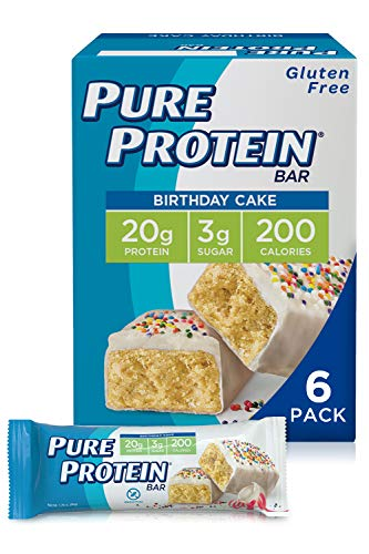 Pure Protein Bars, High Protein, Nutritious Snacks to Support Energy, Low Sugar, Gluten Free, Birthday Cake, 1.76 Ounce (Pack of 6)