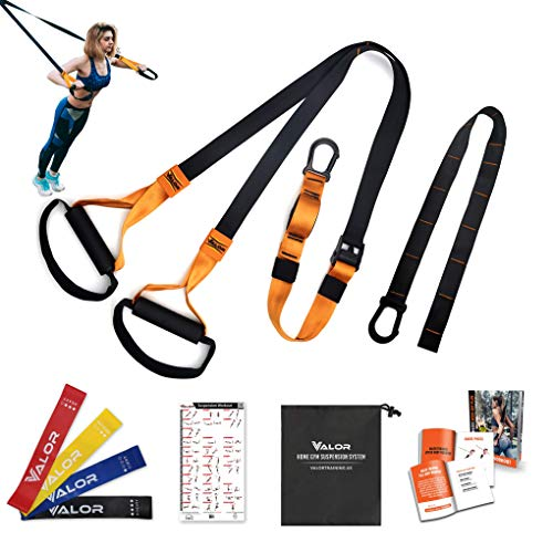 Valor Training Suspension Trainer Bodyweight Fitness Resistance Straps for Home Exercise Workout Indoor and Outdoor Workout Straps Home Suspension Training Kit