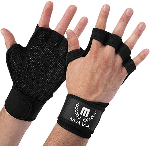 Mava Sports Ventilated Workout Gloves with Integrated Wrist Wraps Support and Full Palm Silicone Padding. Perfect for Weight Lifting, Powerlifting, Pull Ups, WOD and Cross Training for Men and Women