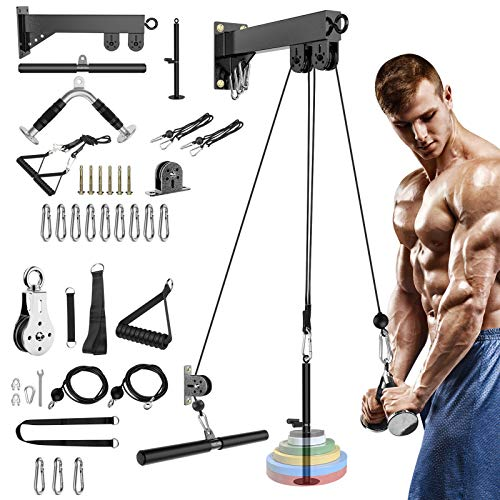 18Pcs/Set Cable Pulley System, Pulley Cable Machine Attachments System for Gym with 16' Straight Bar, Exercise Handles, LAT Pull Down Machine Attachments for Biceps Curl, Triceps Pull Down Exercise