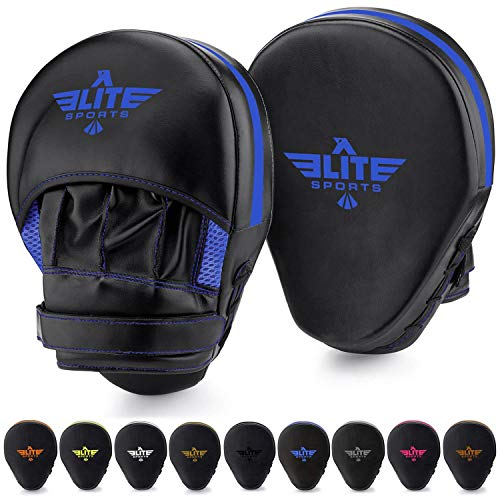 Elite Sports Boxing Mitts for Muay Thai MMA Sparring Training Punching Focus Punch Target Mitts and Pads (Blue)