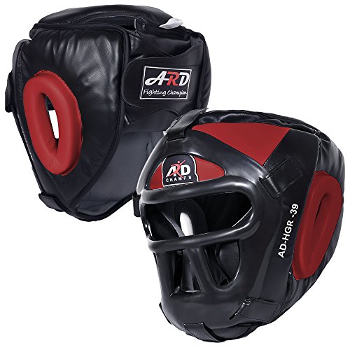 ARD Leather Art MMA Boxing Protector Head Guard UFC Wrestling Helmet Head Gear (Red, Large)