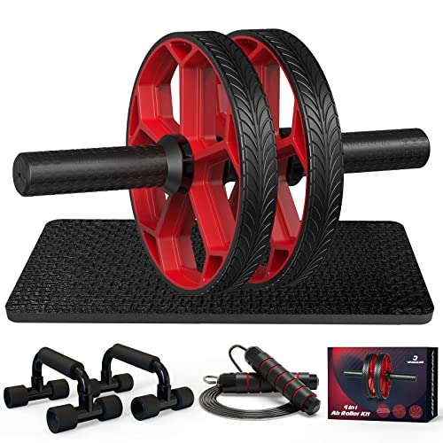 Ab Workout Equipment - Ab Roller Wheel & Push Up Bars & Jump Rope & Knee Mat, Exercise Roller Kit for Core Strength Training & Home Workout, Abdominal Roller Machine Exercise Equipment for Men & Women