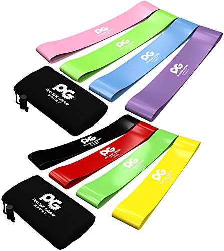 Skin-Friendly Non Latex Resistance Loop Bands Set 4 - Best Home Fitness Exercise Bands for Legs, Workout, Physical Therapy, Pilates, Yoga & Rehab - Mobility and Strength - 10in x 2in BGYR