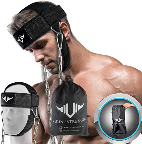 VIKINGSTRENGTH Neck Harness Padded Strength Trainer- Premium Quality for Neck Curls and Training. Head Exerciser for Sports and Fitness, D Ring