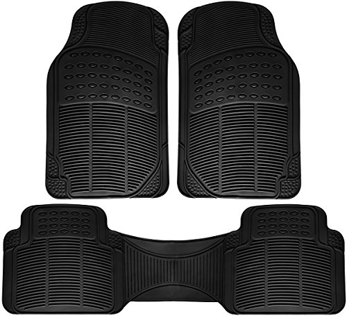 OxGord Car Floor Mats - All-Weather, Non-Slip, Odorless Rubber - Universal Fit Best for Car SUV Truck Van, Heavy Duty, Ridged Liner Protection Great for Catching Spills & Easy Rinse