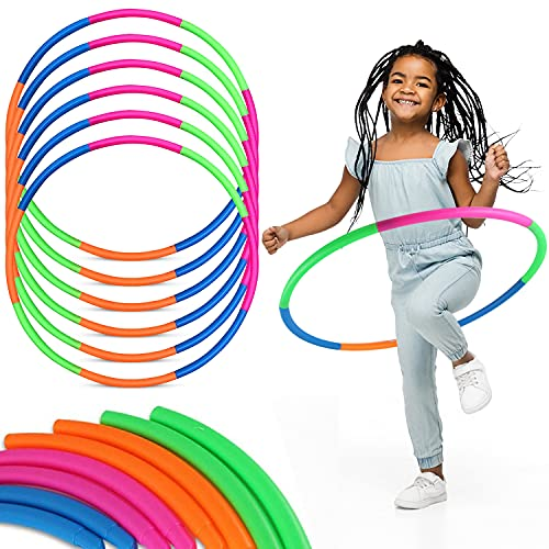 6 Pack Toy Hoop Bundle Pack - Snap Together Detachable Adjustable Weight Size Plastic Hoops - Kids Hula Rings for Sports Playing, 32-Inch
