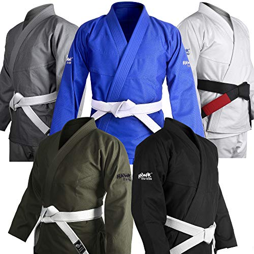 Brazilian Jiu Jitsu Gi BJJ Gi for Men & Women Uniform Kimonos Ultra Light, Preshrunk, with White Belt!!! (Military Green, A3)