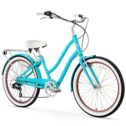 sixthreezero EVRYjourney Women's 7-Speed Step-Through Hybrid Cruiser Bicycle, 26' Wheels and 17.5' Frame, Teal with White Seat and Grips
