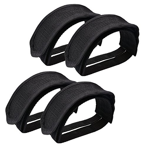 Outgeek 1 Pair Bike Pedal Straps Pedal Toe Clips Straps Tape for Fixed Gear Bike (Black-2 Pairs)