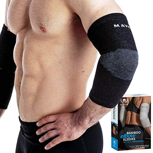 Mava Sports Elbow Sleeve Recovery Compressionm Size XL – Support for Workouts, Weightlifting, Arthritis, Tendonitis, Tennis and Golfer's Elbow – Bamboo Charcoal Athletic Elbow Compression Sleeves