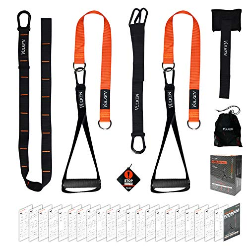 Vulken BodyWeight Exercise Straps, CoreSlings Basic Home Gym Kit Full Body Resistance Workouts Trainer for Travel, and Outdoors, Core Workout Fitness Tools Including Workout Guide Book
