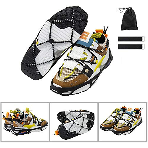 CAKKA Crampons, Portable Walk Traction Ice Cleats - Non Slip, Break Resistant, Easy to Wear - Ice Spikes Gripper for Walking Hiking on Snow/ Ice, Fits for Shoes Boots Etc. L