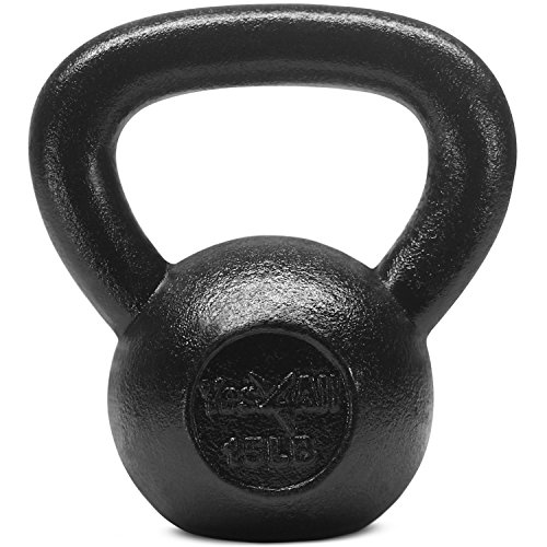 Yes4All Solid Cast Iron Kettlebell Weights Set – Great for Full Body Workout and Strength Training – Kettlebell 15 lbs (Black)