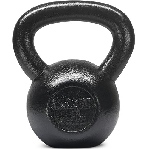 Yes4All Solid Cast Iron Kettlebell Weights Set – Great for Full Body Workout and Strength Training, L - Black 45lb