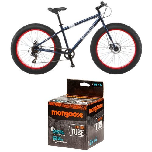 Mongoose Men's Dolomite Fat Boys Tire Cruiser Bike, Blue, 26 inch and Mongoose MG78253-6 Fat Tire Tube, 26 x 4.0'