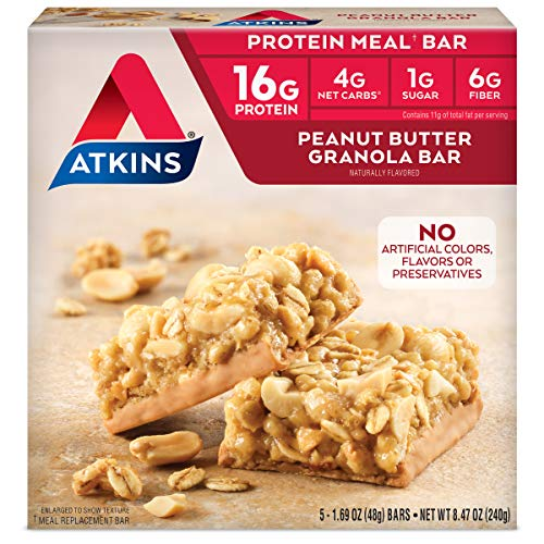 Atkins Peanut Butter Granola Protein Meal Bar. Crunchy and Creamy. Keto-Friendly. (5 Bars)
