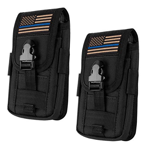 IronSeals AQ 2 Pack Tactical Cell Phone Holster Pouch, Smartphone Pouches EDC Cellphone Case Molle Gadget Bag Molle Attachment Belt Holder Waist for 4'-5.7' with Armor Case on with US Flag Patch