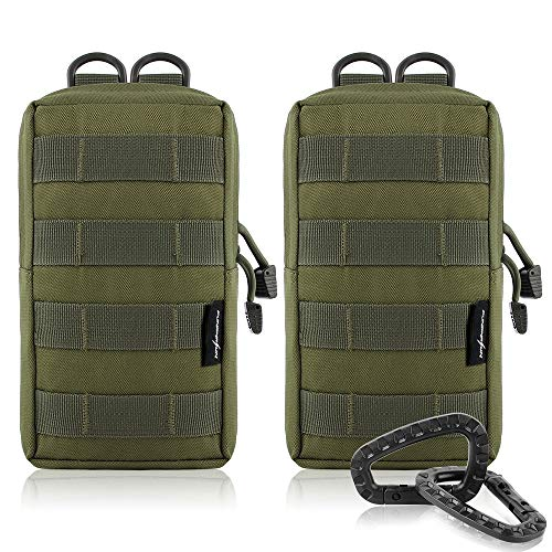 FUNANASUN 2 Pack Molle Pouches Tactical Compact Water Resistant EDC Pouch (Olive Green)