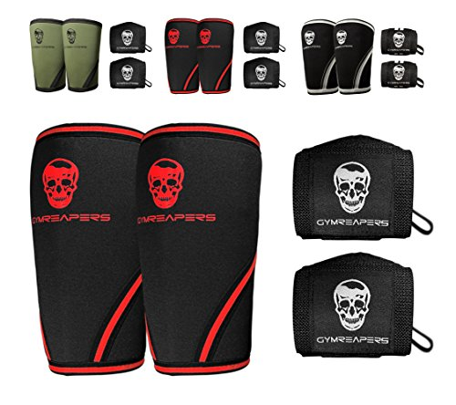 Gymreapers Elbow Sleeves (1 Pair) W/Bonus Wrist Wraps - Support & Compression for Powerlifting, Weightlifting, Bench & Tendonitis 5mm Neoprene Sleeve - for Men & Women (Black/Red, X-Large)