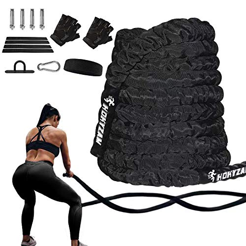 Hokyzam 30FT Battle Rope Workout Equipment Exercise Rope Training Rope Heavy Weighted Rope 2 Inch Diameter Workout Battle Rope with Protective Cover Exercise Equipment Core Strength Training