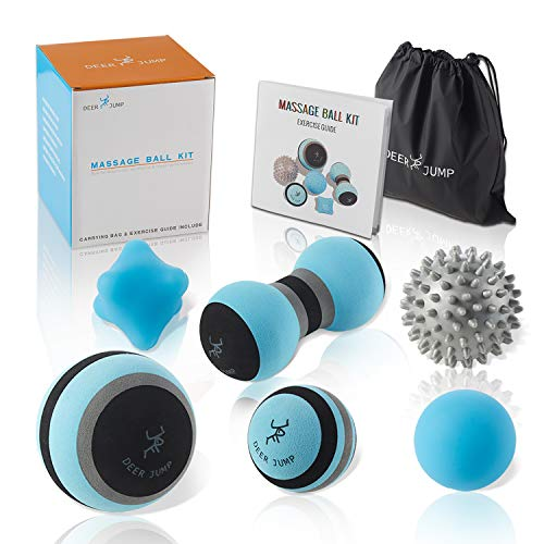 Massage Ball Kit for Myofascial Trigger Point Release & Deep Tissue Massage - Set of 6 - Large Foam/Small Foam/Lacrosse/Peanut/Spiky/Hand Exercise Ball – Carry Bag & Exercise Guide Include