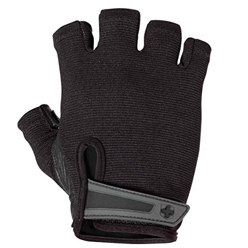 Harbinger Power Non-Wristwrap Weightlifting Gloves with StretchBack Mesh and Leather Palm (Pair), Black, Large, Large (Fits 8 - 8.5 Inches)