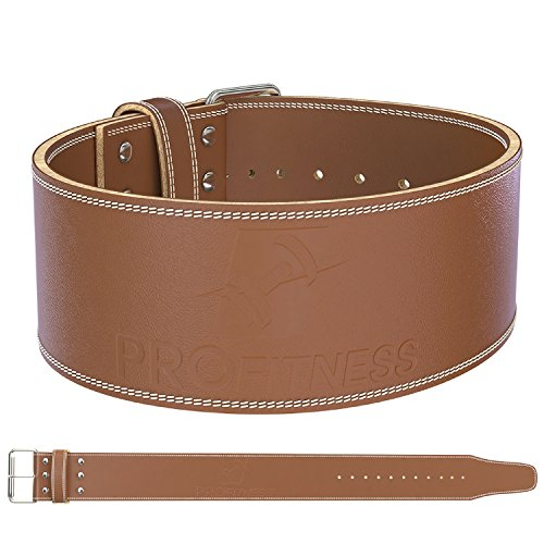 Powerlifting & Weight Lifting Belt (10MM Thick) - Pre Broken-in 4' Wide Genuine Leather for Maximum Support - Great for Heavy Squats, Deadlift, Snatch, Clean and Jerks - for Women & Men