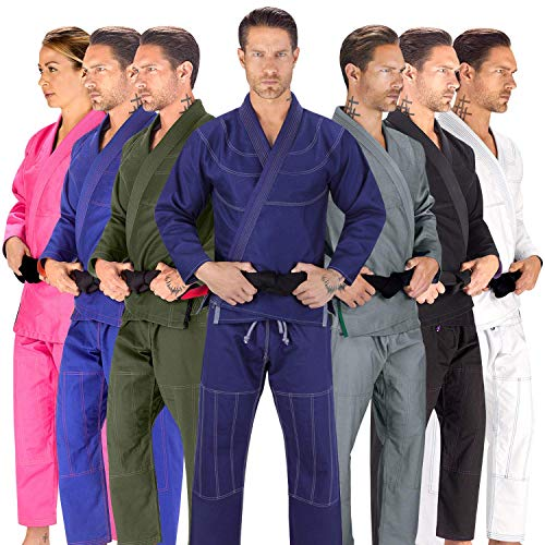 Elite Sports BJJ GI for Men IBJJF Kimono BJJ Jiu Jitsu Lightweight GIS W/Preshrunk Fabric & Free Belt (Navy, A3)