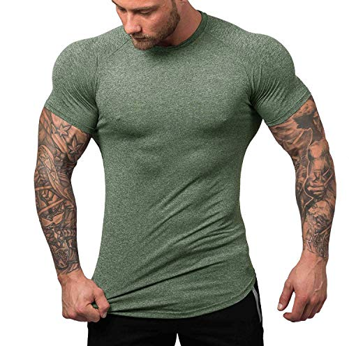 URRU Men's Quick Dry Workout T-Shirts Compression Athletic Baselayer Tee Gym Training Tops Army Green S