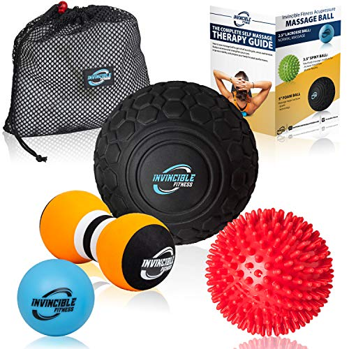 Deep Tissue Massage Ball Set - Includes 5' Foam Roller Mobility Ball, Double Peanut Lacrosse Ball, Spiky Ball for Trigger Point Therapy, Myofascial Release, Foot Reflexology, Plantar Fasciitis