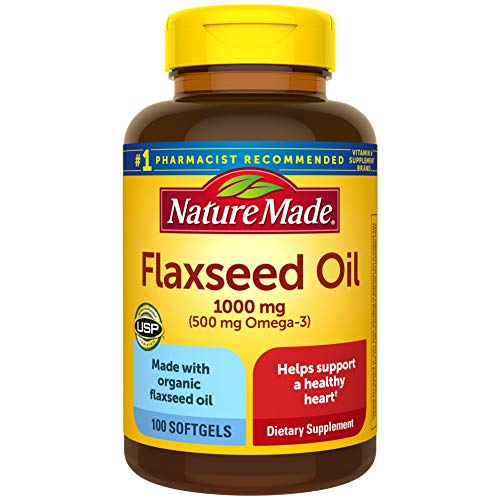 Nature Made Flaxseed Oil 1000 mg Softgels, 100 Count for Heart Health Support