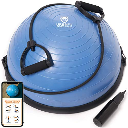 URBNFit Balance Ball - Half Yoga Ball Trainer for Core Stability and Full-Body Workout with Resistance Bands, Pump and Exercise Guide - Fitness & Home Gym Equipment - Blue