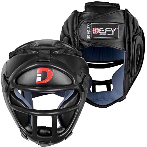 DEFY Head Guard Premium Synthetic Leather MMA Boxing Head Gear UFC Wrestling Helmet Fighting Sparring (Black, Large)