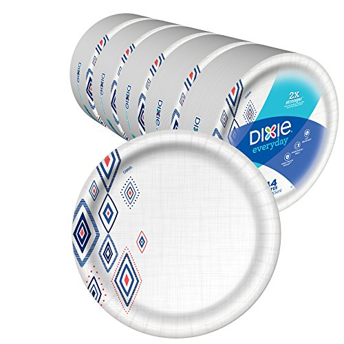 Dixie Everyday Paper Plates,10 1/16' Plate, Amazon Exclusive, Dinner Size Printed Disposable Plates, (5 Pack of 44 Plates), 220 Count