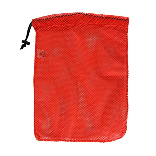SGT KNOTS Mesh Bag USA Made (Small) 550 Paracord Drawstring Bag - Ventilated Washable Reusable Stuff Sack for Laundry, Gym Clothes, Swimming, Camping, Diving (12 inch x 15 inch - Neon Orange)