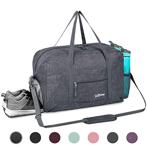 Sports Gym Bag with Wet Pocket & Shoes Compartment, Travel Duffel Bag for Men and Women Lightweight, Gray