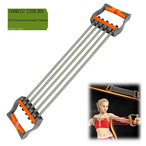 Ueasy Adjustable Chest Expander Resistance Exercise System Bands Strength Trainer for Home Gym Muscle Training Exerciser (Grey-100KG)