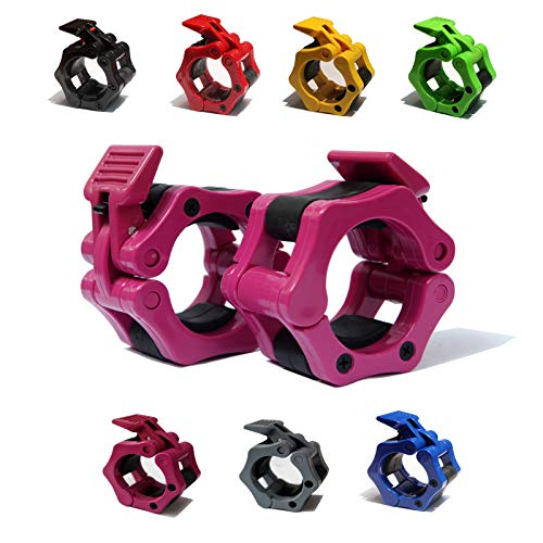 """AbraFit 2"""" Olympic Barbell Clamps - Solid ABS Locking Barbell Collars with Quick Release - for Professional Training Strong Lifts and Olympic Training- Set of 2 (Rose)"""