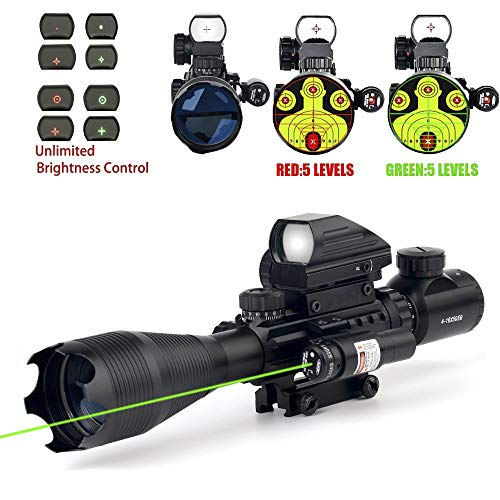 THEA 4-16x50 Tactical Rifle Scope Red/Green Illuminated Range Finder Reticle W/Green Laser and Holographic Reflex Dot Sight (12 Month Warranty)