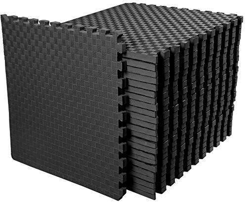 BalanceFrom 1' Extra Thick Puzzle Exercise Mat with EVA Foam Interlocking Tiles for MMA, Exercise, Gymnastics and Home Gym Protective Flooring, 72 Square Feet (Black)