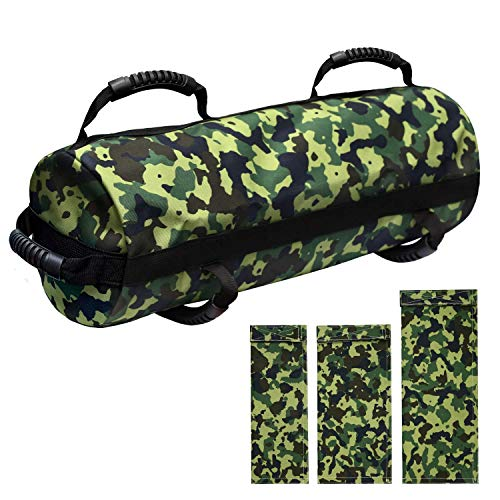 E ETERMTT Sandbags for Fitness, Heavy Duty Workout Sandbags with 10 to 60 Lbs Adjustable Filler Bags, Tactical Training Weight Bags for Exercise and Military Conditioning (Sand Not Included).