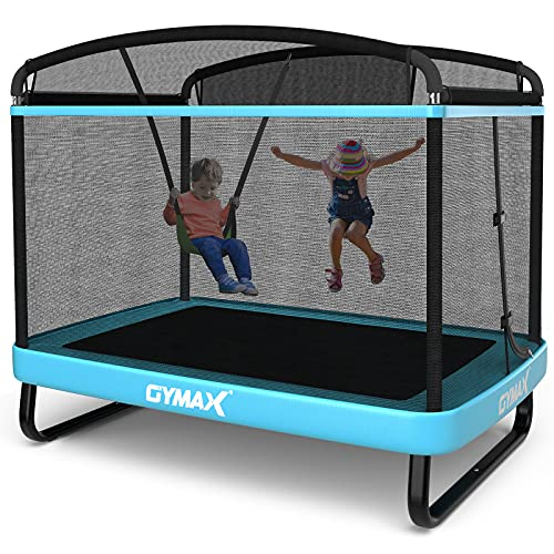 GYMAX 6FT Kids Trampoline with Swing, ASTM Approved Rectangle Recreational Trampoline with Enclosure Safety Net, Indoor/Outdoor Baby Toddler Play Combo Bounce, Birthday for Boy & Girl (Blue)