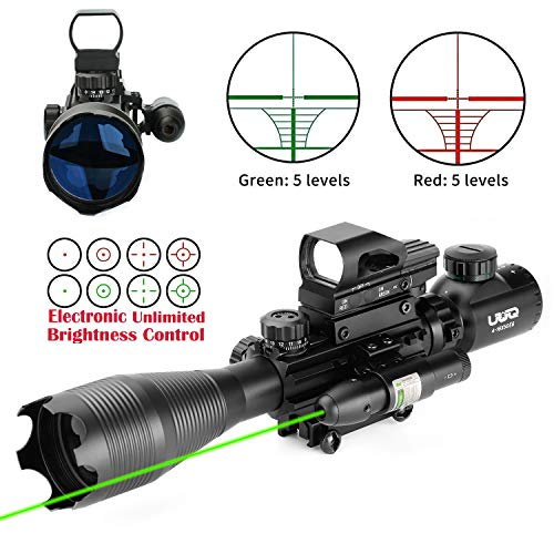 UUQ 4-16x50 Tactical Rifle Scope Red/Green Illuminated Range Finder Reticle W/RED(Green) Laser Sight and Holographic Reflex Dot Sight (4-16X50 Green Laser+104 Dot Sight)