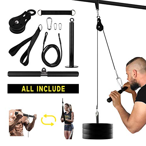 Elevtab Fitness LAT and Lift Pulley System, Nylon Machine with Upgraded Loading Pin for Triceps Pull Down, Biceps Curl, Back, Forearm, Shoulder-Home Gym Equipment